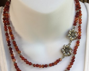 Red agate multistrand necklace and earring set