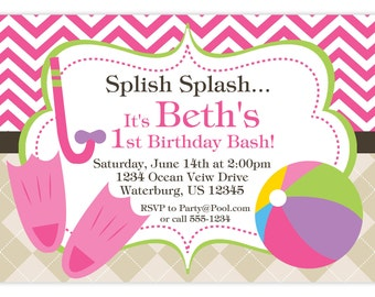 Pool Party Invitation - Pink Chevron and Tan Argyle, Beach Ball and Flippers Personalized Birthday Party Invite - a Digital Printable File