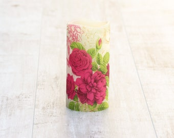 Unique Floral Decorative Pillar Candle, LED Candle with Floral Print, Floral Home Decor, Botanical Home Decor, Botanical Flameless Candle