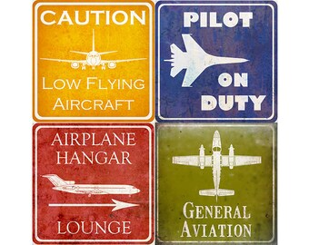 "Vintage Aviation Hangar Signs - Four 10x10"" Prints"