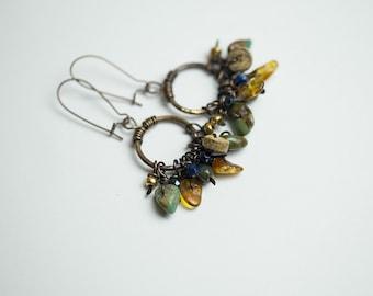 Boho earrings Boho jewelry Turquoise earrings Amber earrings Bohemian jewelry Gypsy earrings Gypsy jewelry Rustic earrings Genuine amber