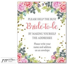Bridal Shower Address an Envelope Sign - Self-Address an Envelope 8 x 10 inch - Pink and Gold Floral Digital You Print File  #FL011