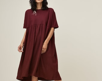 SALE Oversized Embroidered Cecilia Dress. Boiled Wool Dress. Loose Fit Dress. Fashion Loose Fit Dress. Women Short Sleeves. Cecilia AW17