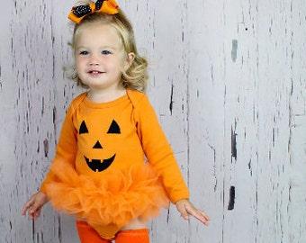 Pretty Pumpkin Jack O Lantern Tutu Bodysuit Baby Girls Halloween Costume Clothing