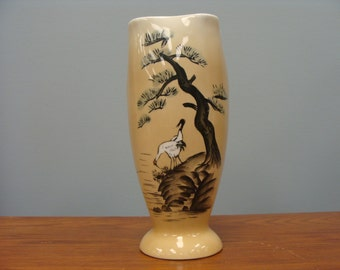 Asian Stork Vase with Trees Vintage