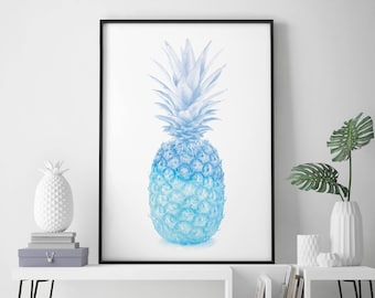Blue Pineapple Watercolour Print Wall Art | 4x6 5x7 A4 A3 A2