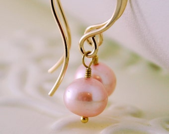 Pink Pearl Jewelry June Birthstone Simple Genuine Freshwater Rose Pastel Gold Filled Earrings Complimentary Shipping