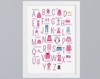ABC clothing - alphabet art print without frame