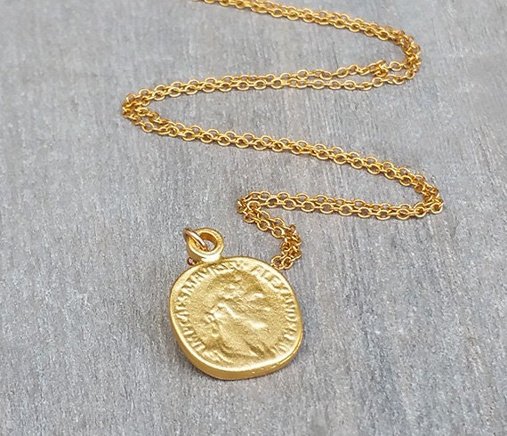 Disc necklace Gold coin necklace Coin jewelry Delicate