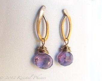 RESERVED - ONE Amethyst Earring - Gold or Sterling Dangle earrings, original design lavender purple February birthstone