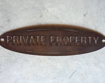 METAL oval PRIVATE PROPERTY sign
