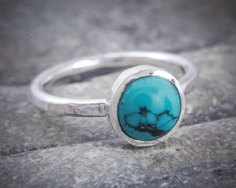Turquoise silver ring, blue stone ring, hammered stacking ring, hammered silver ring, natural Chinese turquoise, healing ring