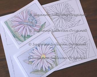 Daisy Cards to Color, Coloring Cards, Coloring, Set of 2 , Adult Coloring Page, Blank Coloring Cards, Printable Download