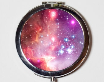 Outerspace Nebula Compact Mirror - Universe Celestial Space Galaxy - Make Up Pocket Mirror for Cosmetics