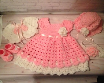 Crochet Baby Dress Outfit -  Coming Home Outfit - Birthday Dress - Crochet Dress -  Newborn Dress - Baby Gift - Baby Shower Gift