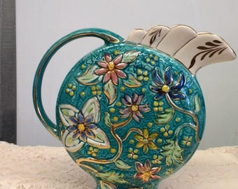 Beautiful Turquoise with Gold Trim H. Bequet Majolica Ceramic Pitcher or Vase