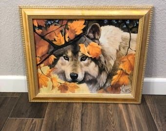 Vintage-Painting-Clancy-Wolf-Orange-Leaves-Replica-Home Decor-Wall Decor-Wall Hanging