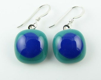 Teal & Cobalt Fused Glass Earrings. Made To Order. Fused Glass Jewelry. Casual Jewelry. Simple Earrings. Contemporary Jewelry.