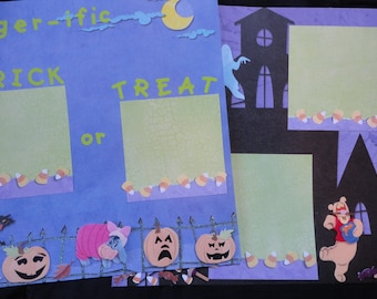 SALE Pooh Tigger -ific Halloween pre-made 2 pages 12x12 scrapbooking layout Trick or Treat eeyore