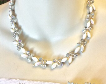 Vintage 1950's aurora borealis milk glass beads rhinestones necklace earrings demi parure set.
