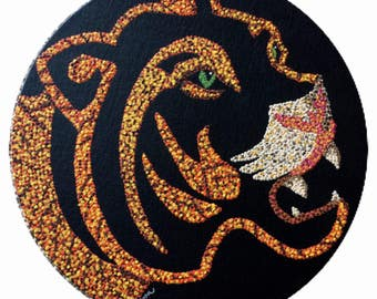 "Dot Pointillism, Acrylic, Tiger, 12"" round, black canvas board, pointillist artwork, pointillism, original, unframed, tiger"