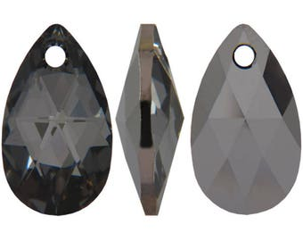 Swarovski 6106 pear shape pendant in crystal night - 22mm - Swarovski pendant - black diamond