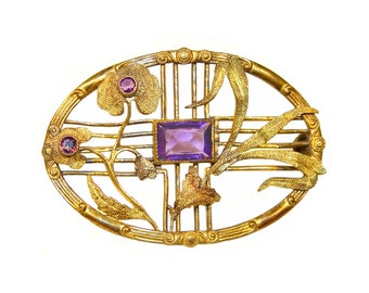 Art Nouveau Brooch, Beautiful Floral Design, Amethyst and Gold, Signed, Vintage 1909-1922