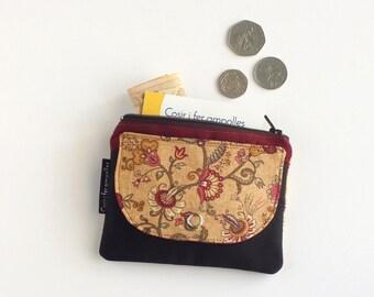 Monedero de tela de flores, cartera para mujer, monedero cremallera, accesorios mujer