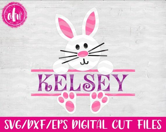 Split Easter Bunny Svg Dxf Eps Cut File Spring Monogram