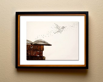 Writers and Students Wall Art , Letters fly from open book - Typographic Print.