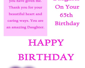 Daughter 65 Birthday Card with removable laminate