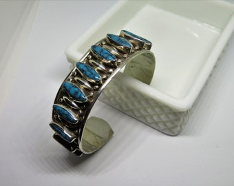 Vintage Turquoise and 925 Silver Cuff Bracelet