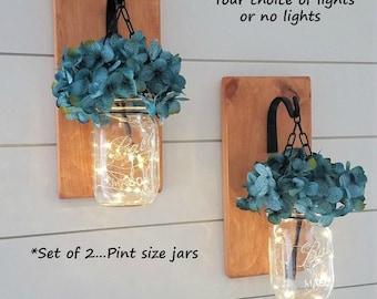 Mason Jar Sconces - Wood Sconces - Hanging Sconces - Reclaimed Wood Decor - Wrought Iron Decor - Hanging Flower Arrangement