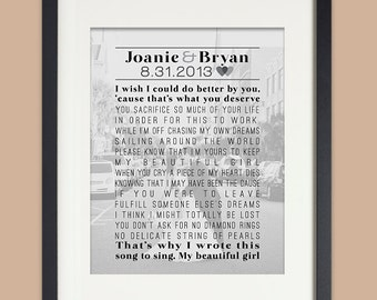 Wedding Anniversary Gift, Personalized Wedding, First Anniversary Print with Photo, Song Lyrics, Wedding Vows, first dance song