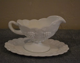 Large Westmoreland Glass Paneled Grape Gravy Boat With Under Plate, Bowl White Milk Glass