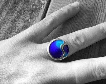 Silver and blue enamel ring