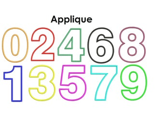 Numbers Applique Set - Number Applique Design - Embroidery numbers. Birthday numbers embroidery Numbers applique design. Machine embroidery