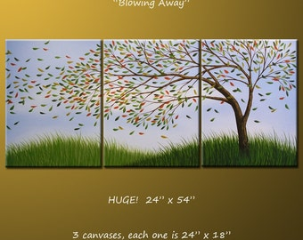 Art Landscape Original Painting Large Triptych Abstract Modern Contemporary Trees ... 24 x 54 .. Blowing Away, arrives ready to hang