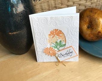 Floral birthday card, Birthday wishes card, Yellow floral birthday card