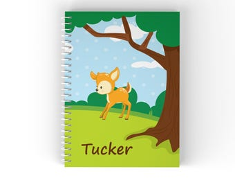Woodland Personalized Notebook - Woodland Animals Grass Tree Sky with Name, Customized Spiral Notebook Back to School