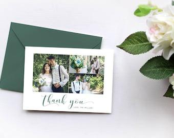 CUSTOM Photo Thank You Card, 4 Photo Thank You Card, Engagement Thank You Card, Thank You Postcard DIGITAL FILE 5x7