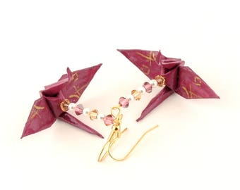 Harmony Kanji on Mulberry Origami Crane Earrings Gold Plated Hooks Jewelry