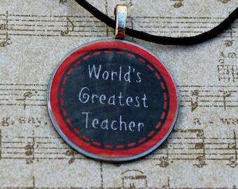 Teacher pendant necklace - metal pendant - gift for teachers - chalkboard necklace -World's Greatest Teacher necklace