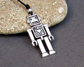 Robot Emilio Mens Necklace Pendant, Mens Silver Leather Necklace, Best Friend, Boyfriend Gift Adjustable