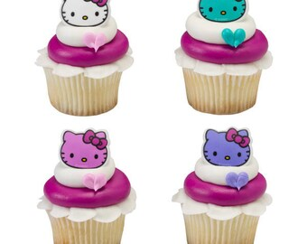 Hello Kitty - Happy Everything Cupcake Rings - 24 Count