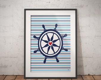 Ship Wheel Art Print, Nautical Wheel, Navy Ship Wheel, Nautical Decor, Nursery Print, Nursery Art, Printable, Downloadable File