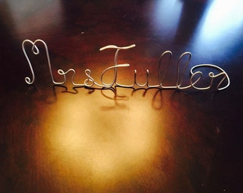 Teacher gift, personalized teacher gift, wire name stand for desk, wire art, teacher name, custom wire name