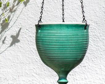 Green Ceramic Hanging Planter, gardener mom gift, Large modern pottery plant pot, geometric Garden Bowl, Wheel thrown flower pot mothers day