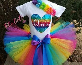 Pink Rainbow Heart Birthday Tutu Set