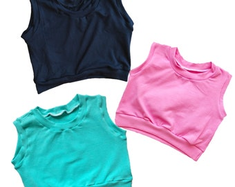 Solid Black, Teal Aqua, or Bubbleum Pink Crop Top Tank for Baby Toddler Kid Child